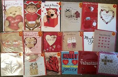 Job Lot Mixed Valentines Day Cards - 133 Cards - Lots Of Designs & Sizes