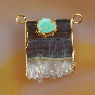 Rare Amethyst Druzy Slice & Genuine Turquoise Connector Gold Plated H129232