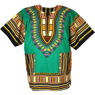 Cotton African Dashiki Mexican Hippie Tribal Boho Shirt Blouse Green ad04t2 bid