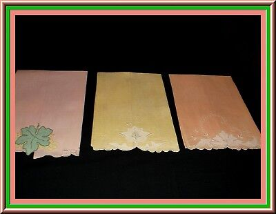 3 Fabulous Vintage Fine Linen Madeira  Embroidered Guest Towels With Appliques