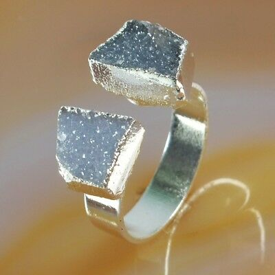 Size 8 Natural & Black Agate Druzy Geode Ring Silver Plated H129252