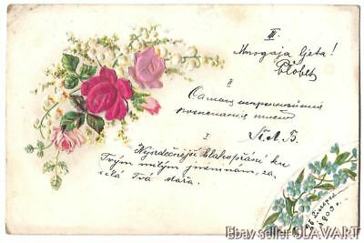 POSTCARD 1900 Czech antique greeting card roses flowers hand-colored? vintage