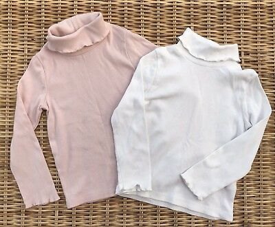 Baby Girls Polo Neck Tops Pink White Winter Warm Layer Age 1.5-2