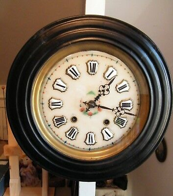 French Provincial Wall Chiming Clock Twice On Bell Hand Painted Face  15""
