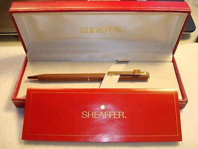 sheaffer white dot brown ups ball point pen with box and booklet