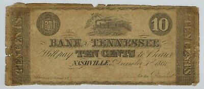 10c 1861 Nashville BANK OF TENNESSEE Obsolete Currency Scrip