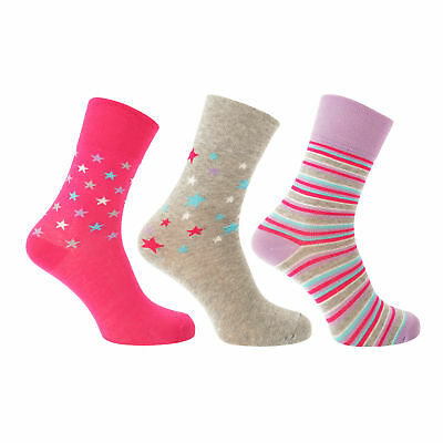 Pack Of 5 CottoniQue Womens//Ladies Coloured Patterned Socks W527