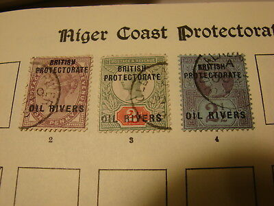 OIL RIVERS STAMPS from old album, Overprinted GB Queen Victoria, very fine used