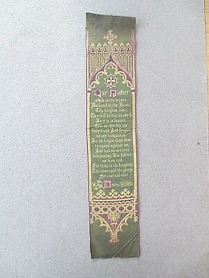 Antique Silk BOOKMARK Stevengraph T S Stevens Scripture Lords Prayer Our Father