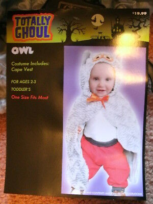 COSTUME *OWL* (vest/cape) toddler 2-4 years NEW WITH PACKAGING