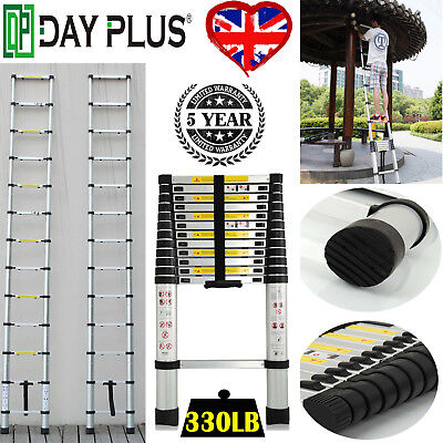 Aluminum 12.5FT Multi-Purpose Telescopic ladder Durable EN 131 Heavy Duty 3.8m