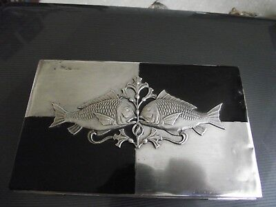 Japanese antique solid silver table box