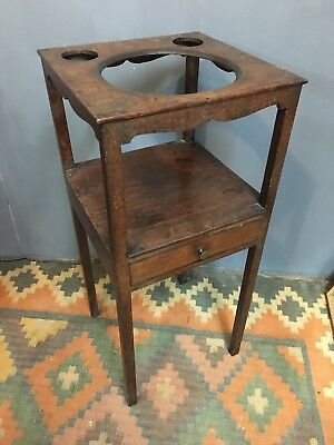 Original Antique Solid Oak Georgian Wash Stand With Drawer