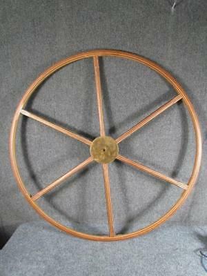 """ANTIQUE or VINTAGE   INLAID SHIPS YACHT WHEEL ?  36"""" INCH DIAMETER"""