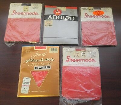 Lot of 5 Pairs of Vintage Pantyhose Sheermode Hanes New (12oz)