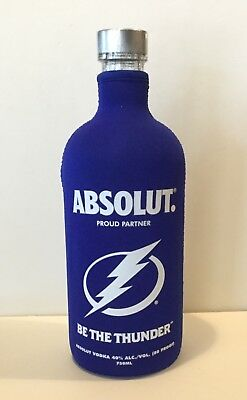 ABSOLUT Vodka BE THE THUNDER Tampa Bay NHL LIGHTNING Neoprene BOTTLE COVER Skin