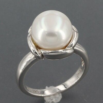 Sterling Silver Honora 10.5mm Pearl in Bloom Solitaire Flower Ring Size 6.25