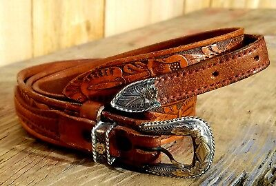 """Sterling Silver 10K Gold 3 Piece Tex Tan Tooled Leather Belt 36""""-40"""""""