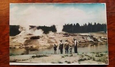 """Antique Early 1900's Cabinet Card PHOTO Yellowstone OLD FAITHFUL GEYSER 11"""" x 7"""""""