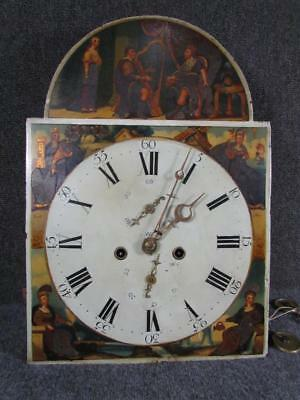 Antique English Uk Hand Painted Grandfather Clock Face,movement,weights,pendulum