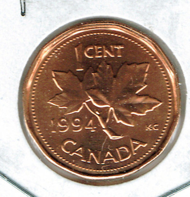 1994 Canadian Uncirculated One Cent Elizabeth II Coin!