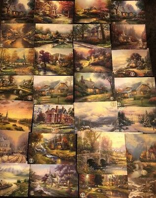 50 Thomas Kinkade Postcards Dealer Lot Cottages Chapels Bungalows houses Art