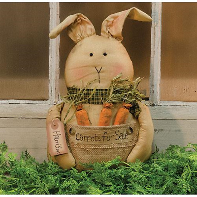 New Primitive Folk Art Grungy CARROTS FOR SALE BUNNY Burlap Rabbit Easter Spring