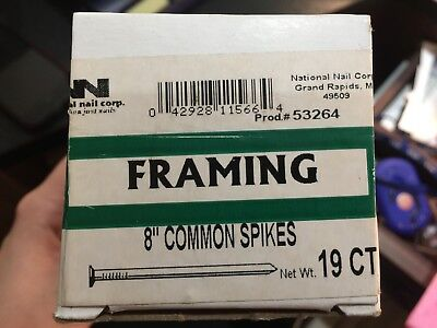 "Huge Lot Of 114-National Nail Corp 8"" Common Spikes-Framing Product 53264"