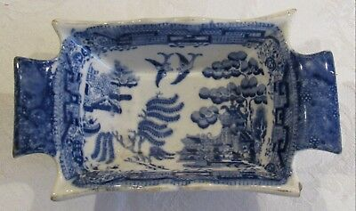 Antique Staffordshire Blue Willow Transferware Handled Pickle Dish