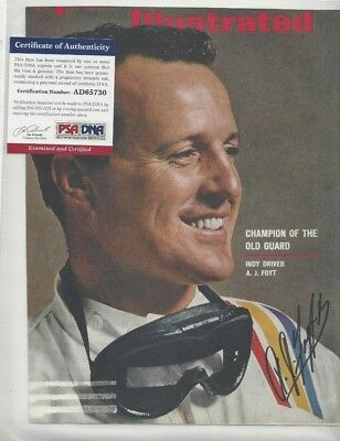 AJ Foyt Autographed Sports Illustrated Cover Indy 500 Auto Race Car Driver