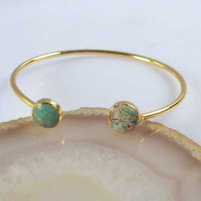 Defective Natural Genuine Turquoise Bangle Gold Plated B076485