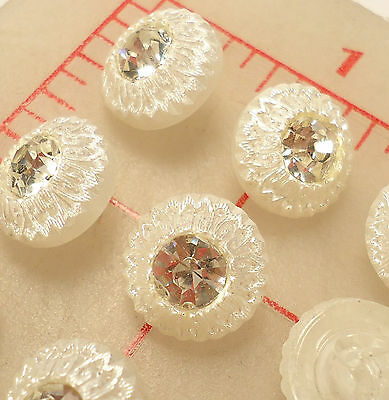 "3 Vintage Czech Glass Shank Buttons Pearl Finish Rhinestone Center 1/2"" #466"
