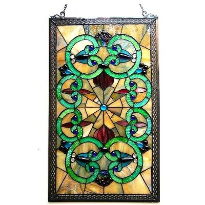 "Window Panel Vintage Victorian Design 17"" X 28"" Tiffany Style Stained Glass PAIR"