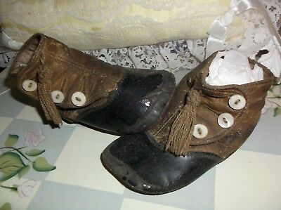 ANTIQUE VICTORIAN Child's Baby SHOES High Top Button TWO TONE Leather W/ Tassels