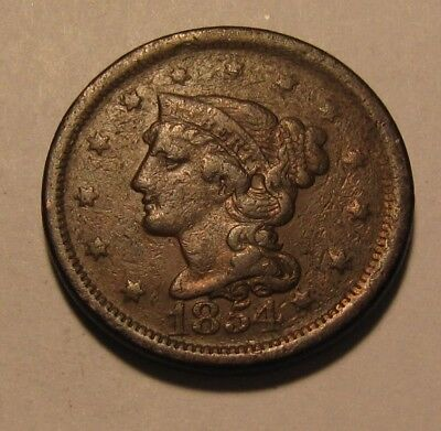1854 Braided Hair Large Cent Penny - Circulated Condition - 52FR