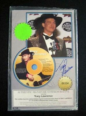 1993 Tracy Lawrence Signed Commemorative Sheet ^ Authentic Autograph