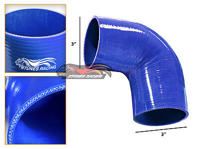 "Blue 3"" 76mm 4-ply Codo Tubo Silicona Turbo Admisión Intercooler para Ford"