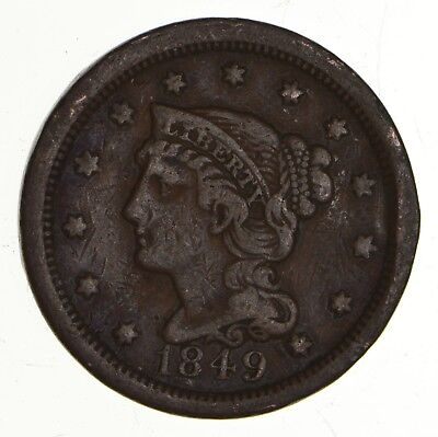 Tough - 1849 Large Cent - US Early Copper Coin *965
