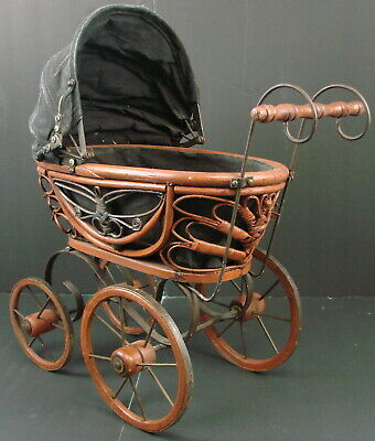 """Vintage Antique Baby Doll Stroller Wooden Carriage Ornate Photo Prop Buggy 13"""""""