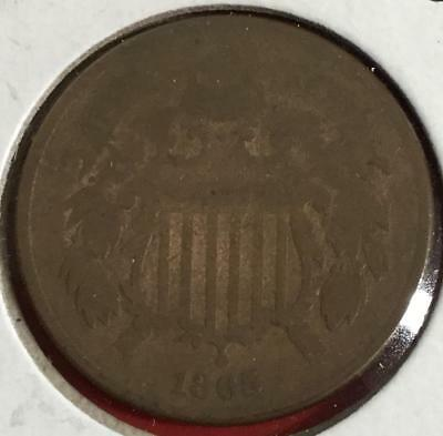 1865 US Two Cent Piece! Old US Coins! Civil War Days!