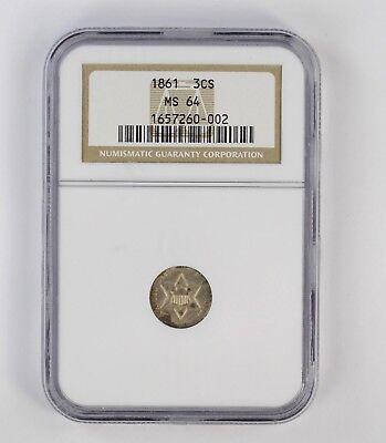 MS64 1861 Silver Three-Cent Piece - NGC Graded *6748