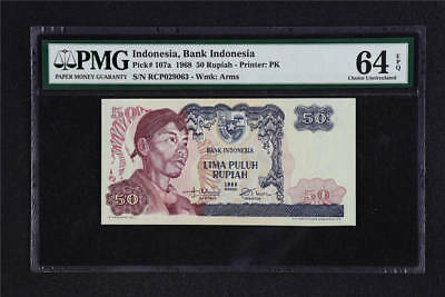 1968 Indonesia Bank Indonesia 50 Rupiah Pick#107a PMG 64 EPQ Choice UNC