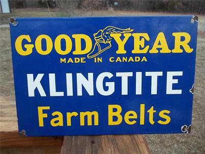 Old Heavy Porcelain Sign Goodyear Klingtite Farm Belts Made In Canada Store Sign