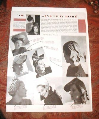 1940s LILLY DACHE Ad w Hats to Make At Home Millinery 7 Wonderful WWII Style LRG