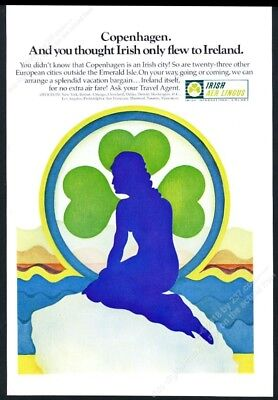 1969 The Little Mermaid sculpture art Aer Lingus vintage print ad