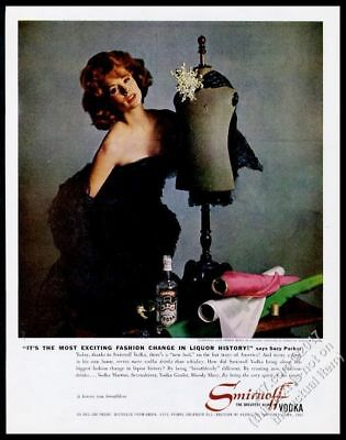 1961 Suzi Parker photo in Christian Dior black dress Smirnoff Vodka vintage ad