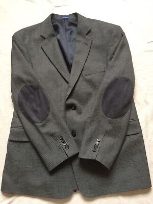Stafford Classic Fit Blazer Men's Gray Sport Coat Jacket Wool Elbow Patches 42R
