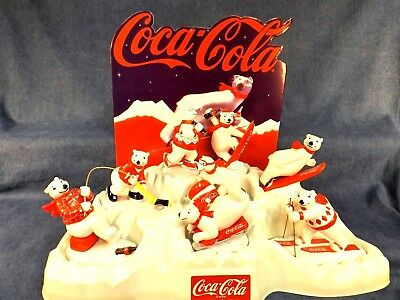 COCA-COLA POLAR BEAR WINTER SPORTS FIGURINES with ORIGINAL STORE DISPLAY