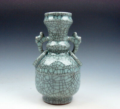 Chinese Crackle Porcelain Hand Crafted Unique Shaped Vase w/ 2 Handles #12211804