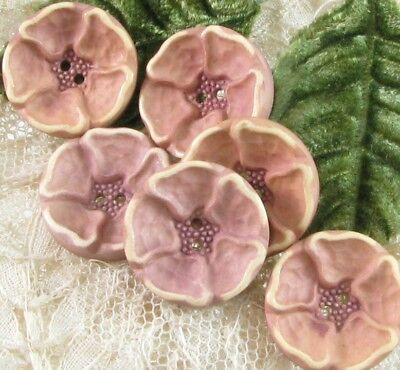 Set of 6 Vintage Painted & Buffed Celluloid Flower Buttons, Dusty Pink